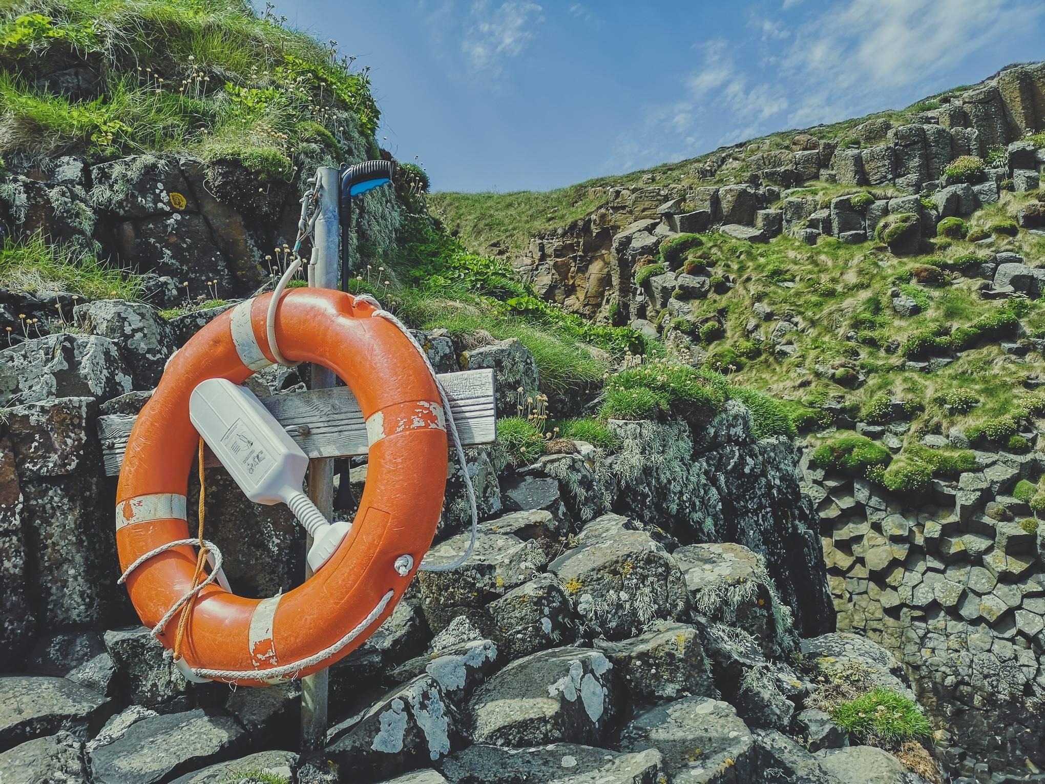 Life wheel on Staffa Island, Hebrides, Scotland
