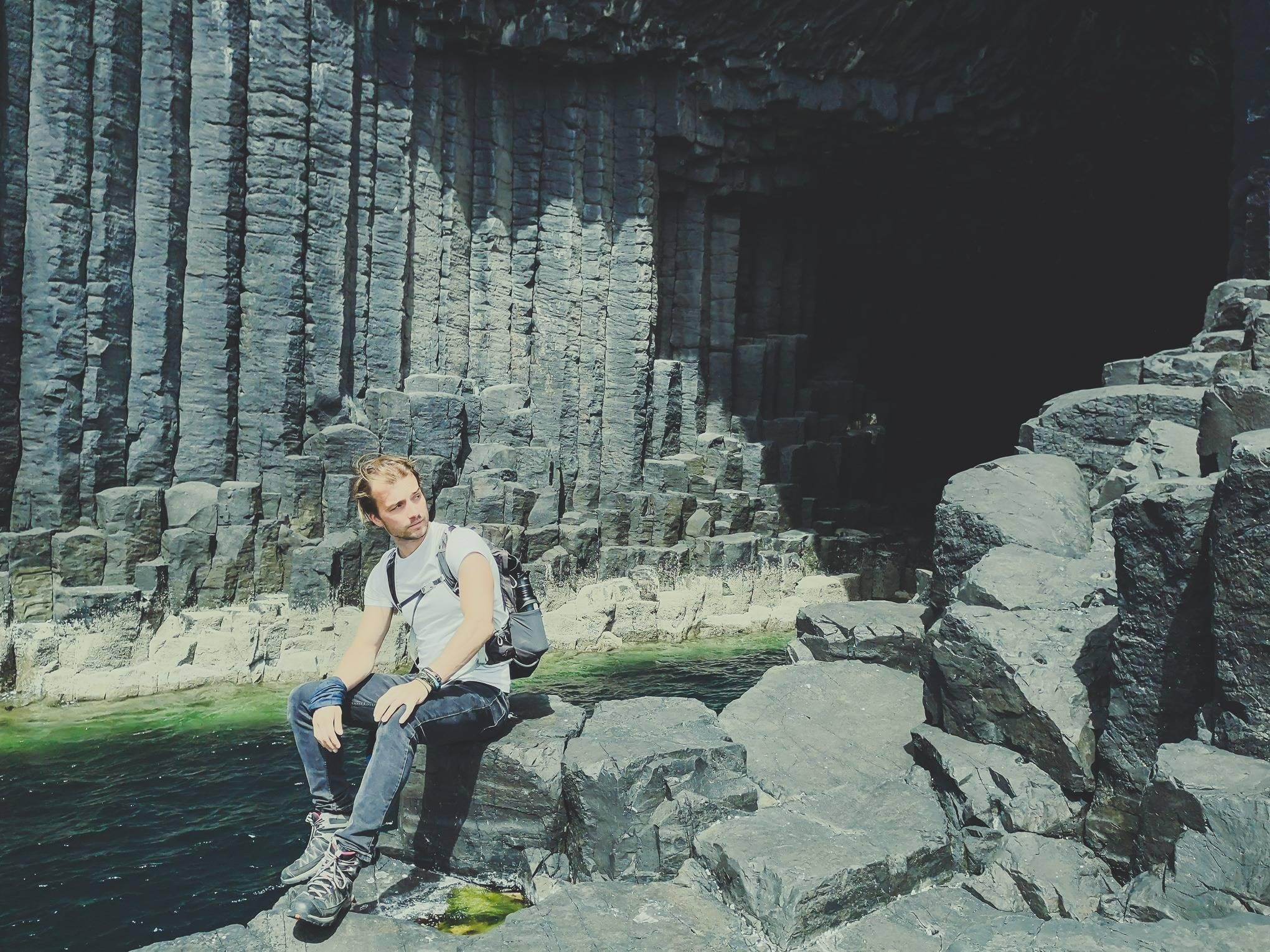 Sitting near FIngal's Cave, Staffa Island